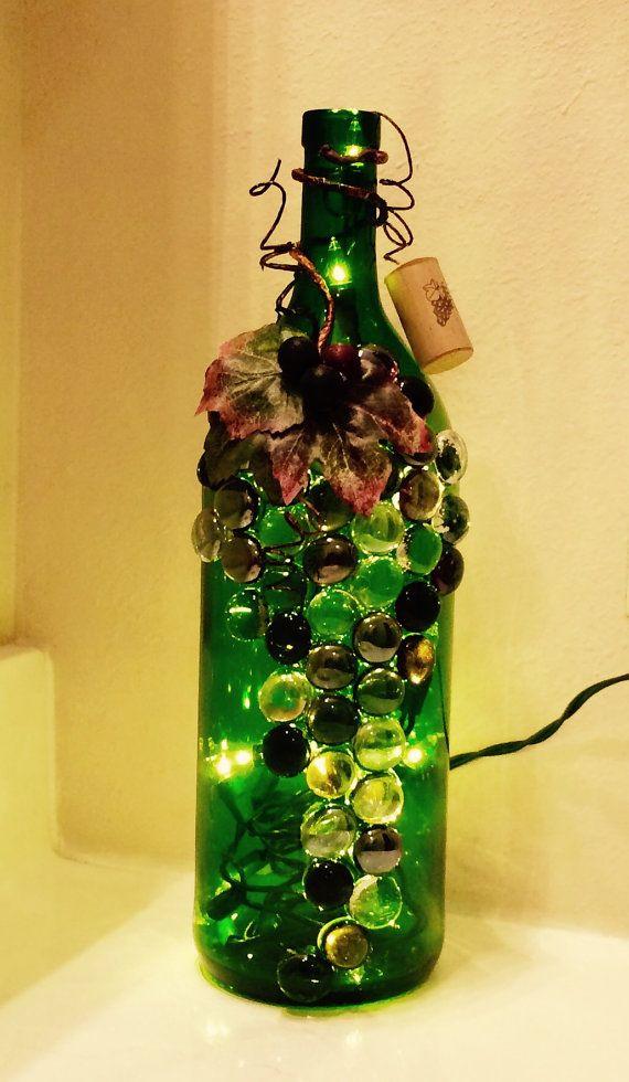 Beautiful Green and Purple Wine Bottle Light