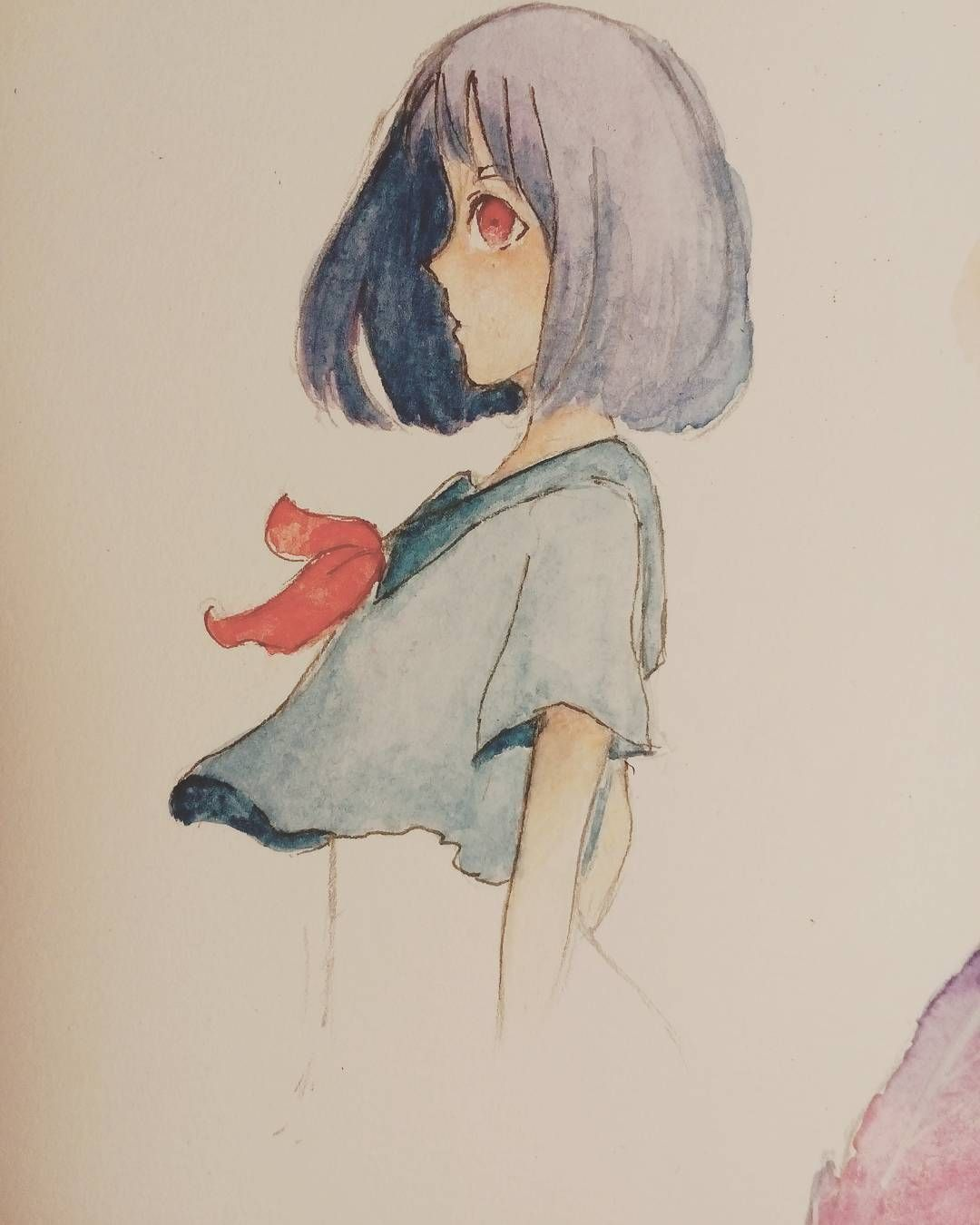 Will more perfect if there is no such face  #sketch #sketchbook # art #artist #animearttr #animedrawing #draw #art_color #watercolor #support_anime_artists #traditionalart #talentedpeopleinc #girl #shorthair #blue #purple #red #uniform #beautiful #fail #failface #instadraw #instaart #followme #angngyu by angngyu