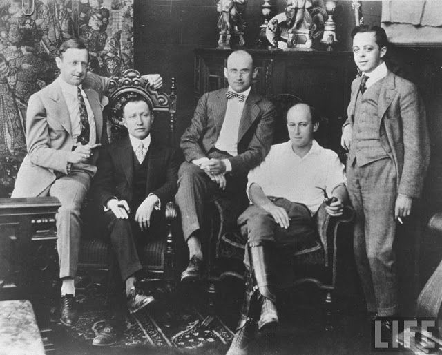 Some of the great pioneers of American film producers, (not mentioned in the text) celebrating the creation of the Famous Players-Lasky in 1916. From left to right: Jesse L. Lasky, Adolph Zukor, Samuel Goldfish (later Goldwyn), Cecil B . DeMille and Albert Kaufman.