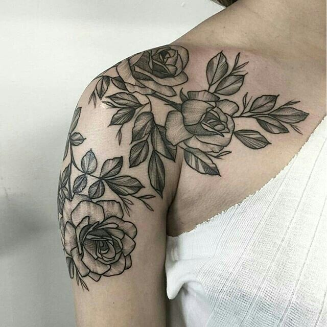 Pin By Anna Lemanczyk On Ink Shoulder Tattoos For Women Girls With Sleeve Tattoos Rose Tattoo Sleeve