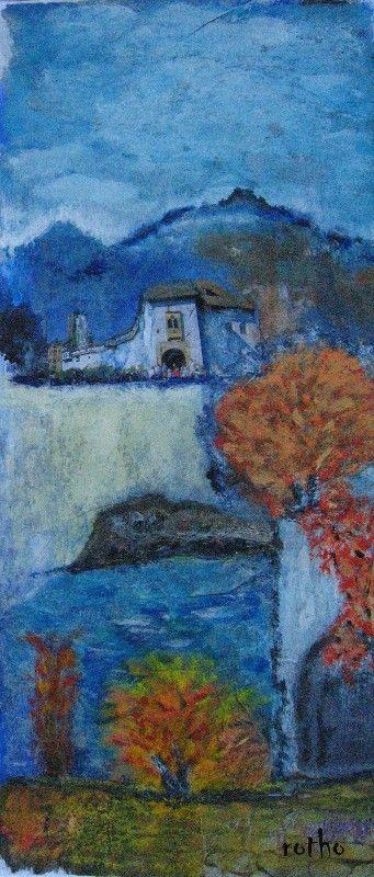 Toskana, Collage mit Gouache, 30x50 in Passepartout