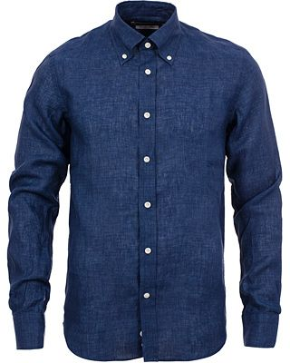 Morris Heritage New Button Down Linen Shirt Blue i gruppen Realisation / Skjortor hos Care of Carl AB (11750411r)