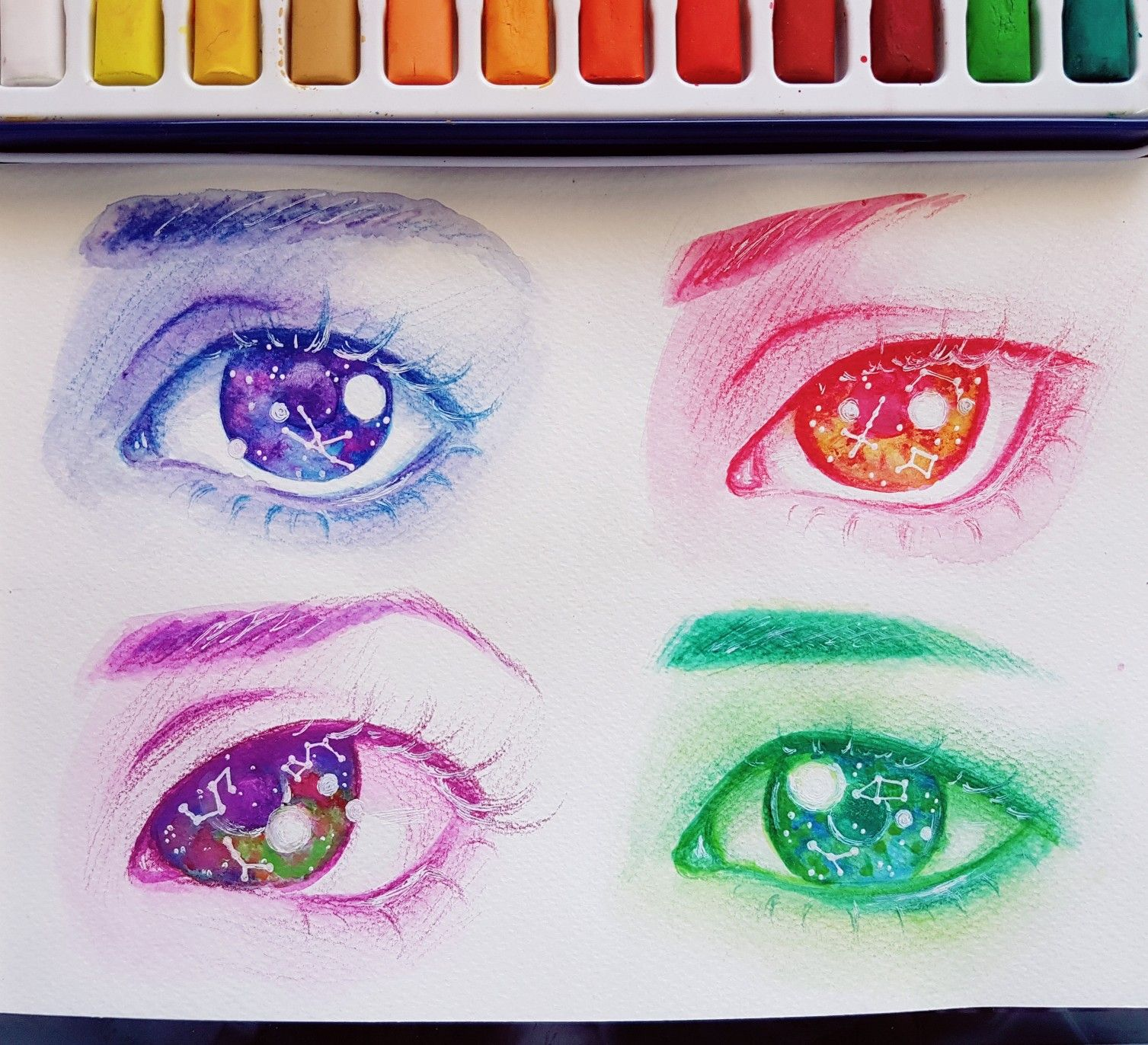 Watercolour Galaxy Eyes Eye Drawing Drawings