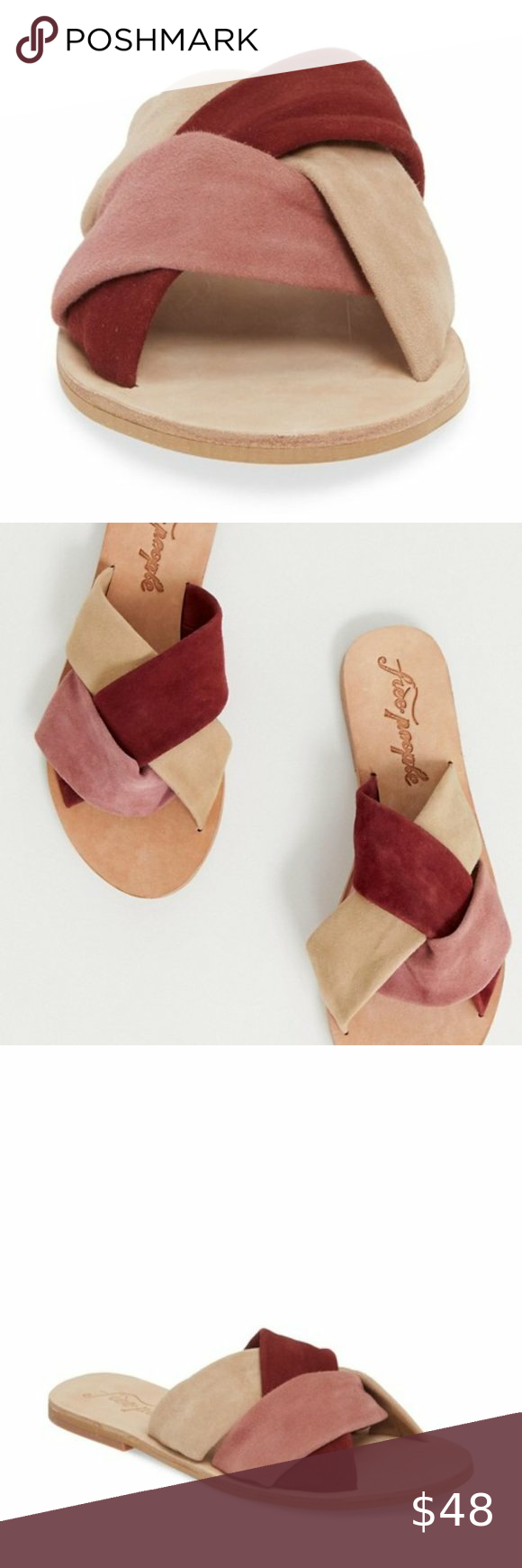 Nib Free People Rios Vista Slide Sandal Braided Leather Sandals Free People Gladiator Sandals Tie Up Sandals
