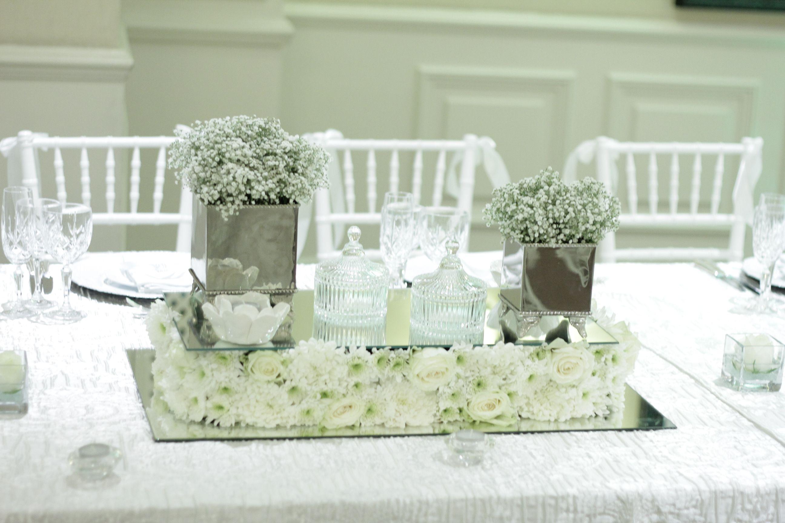 White Flower Centrepiece Done By Sa Wedding Decor All White