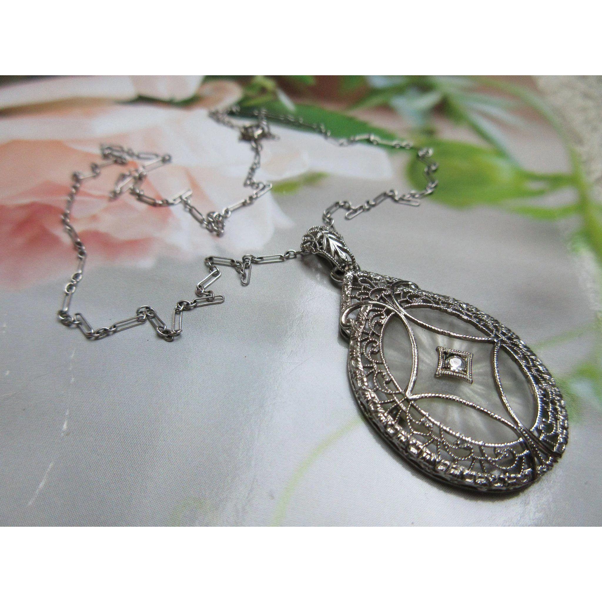 White Wedding Dress Gold Jewelry: Deco Diamond Camphor Glass 14K White Gold Filigree