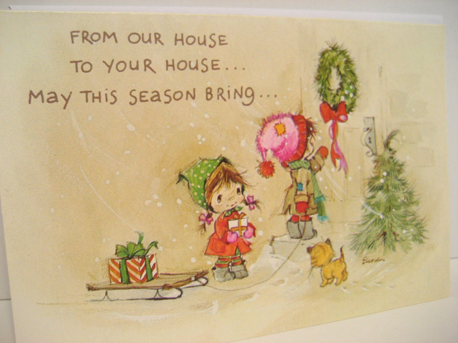 Vintage Christmas Greeting Card, our house to you, silver ...