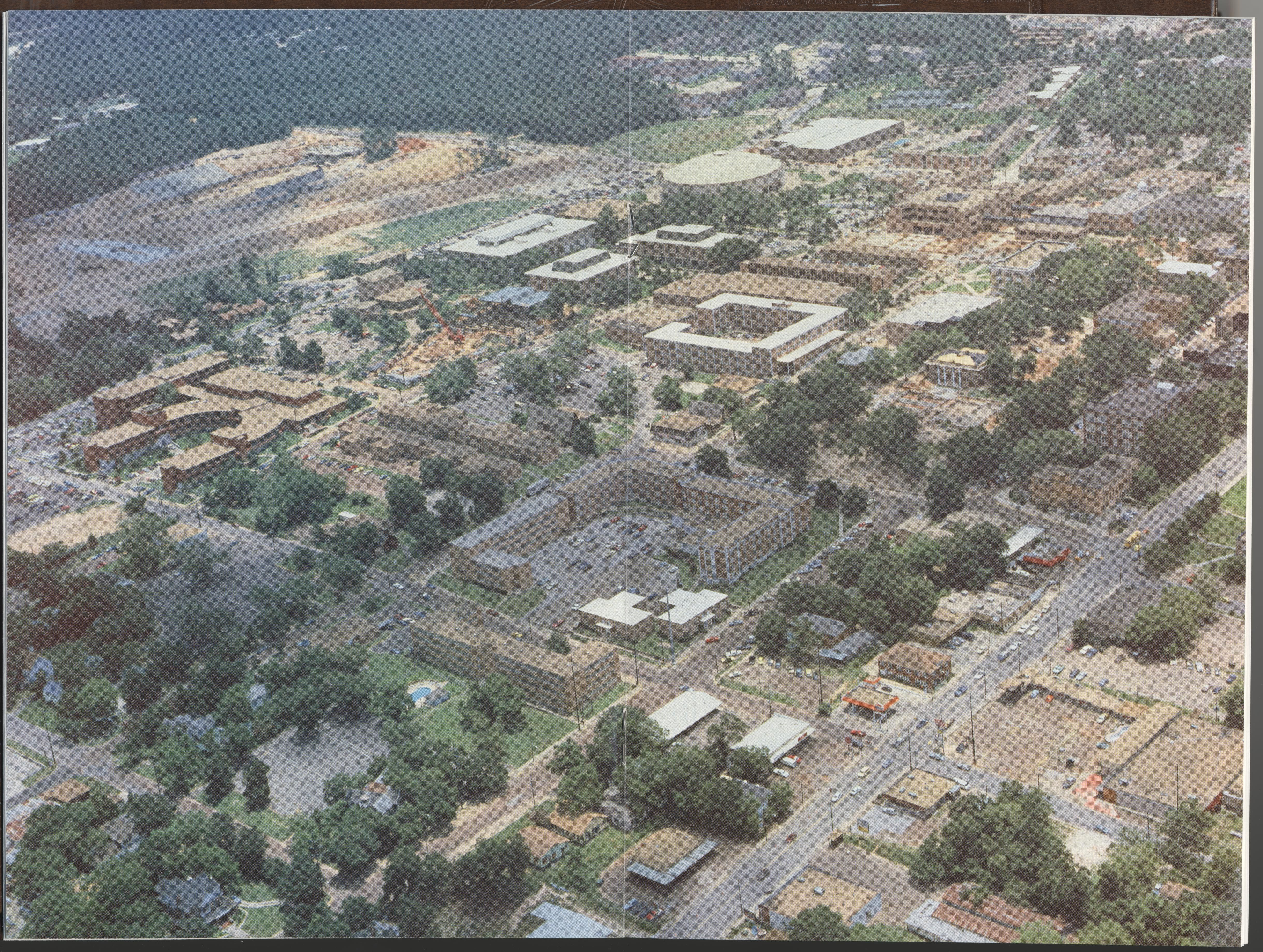 A 1985 aerial view of the Sam Houston State University Campus ...