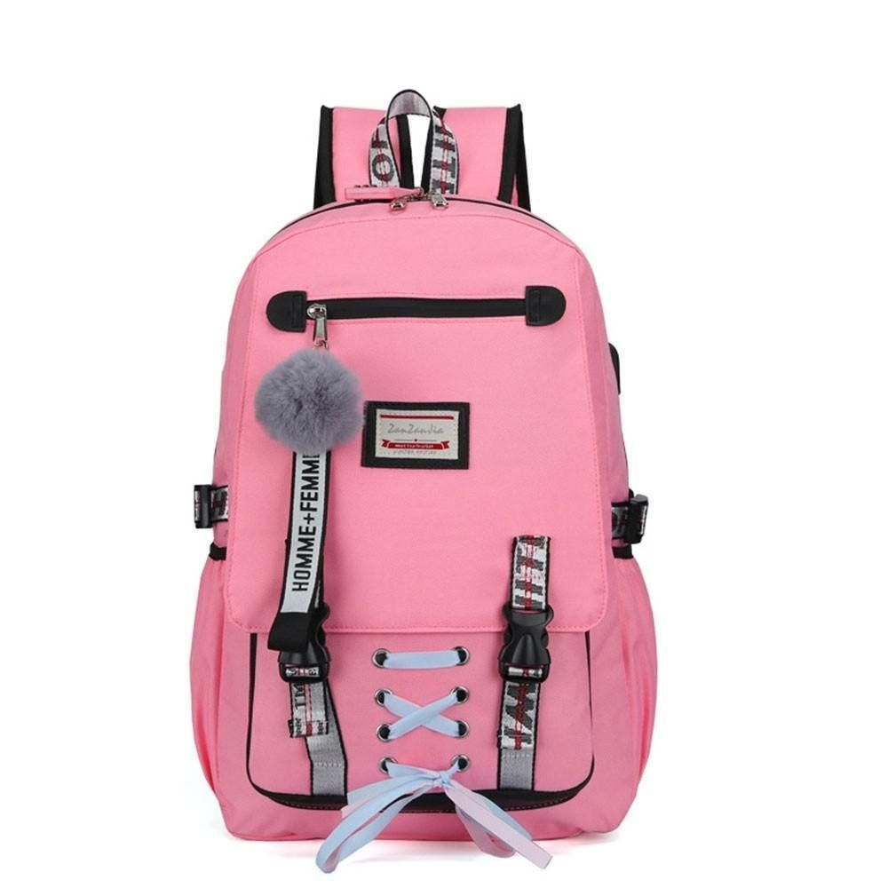 High School Backpack with USB Charging Port Anti theft Large