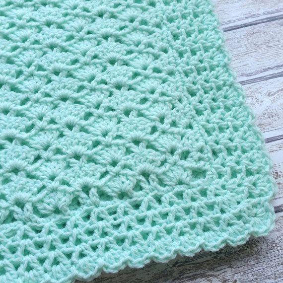 Items similar to Crochet Baby Blanket Mint Green Baby Blanket Car Seat Stroller Crib Blanket Baby Girl Baby Boy blanket Homecoming Shower Gift Photo Prop on Etsy