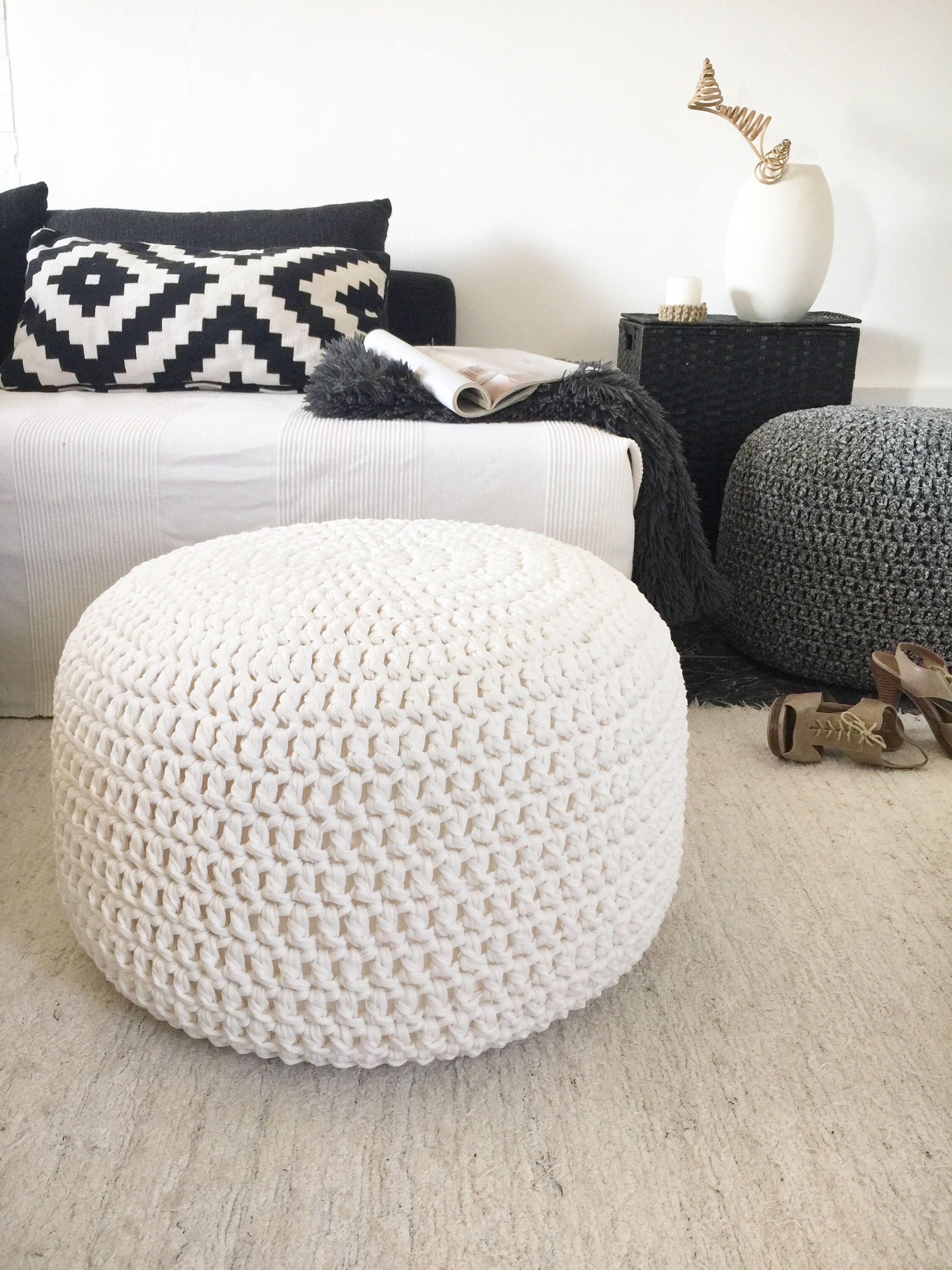 Large Crochet Pouf Ottoman Pearl Round Coffee Table Chunky Knit