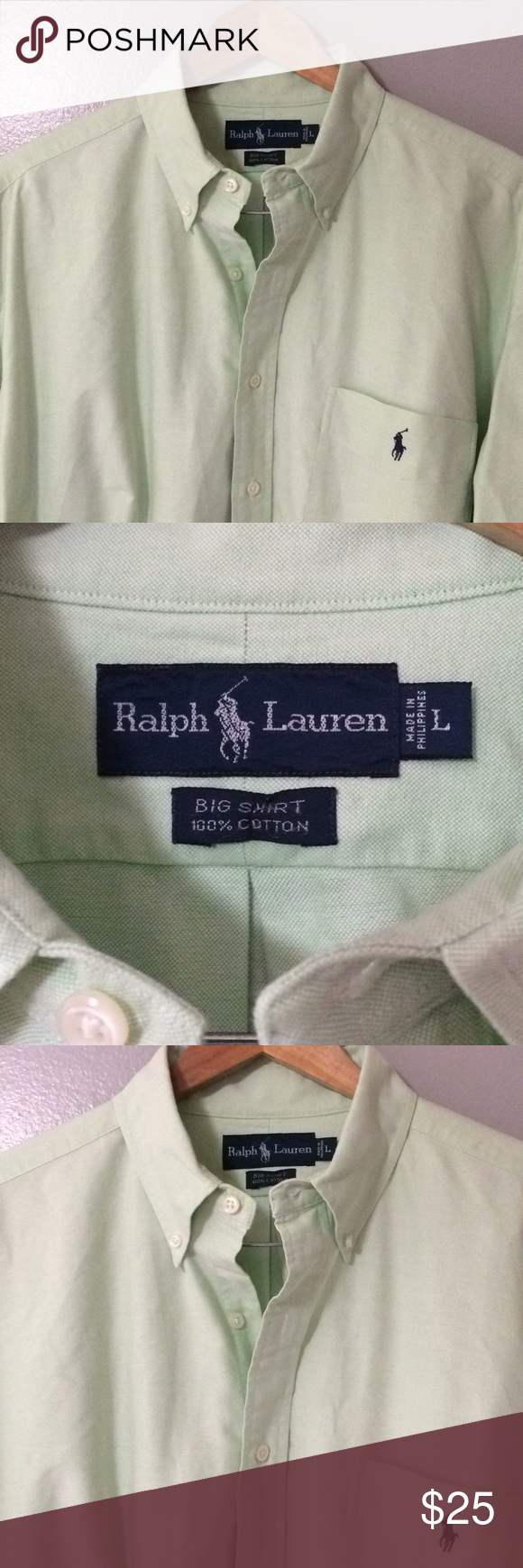 Green dress shirt mens Polo Ralph Lauren