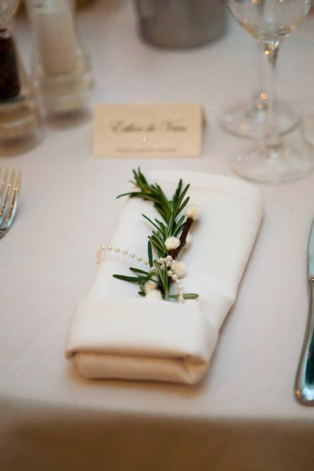 Wedding Place Setting Of Rosemary Pussy Willow Pearls
