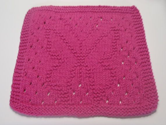 Butterfly Dishcloth Knit Cotton Dishcloth Pink By Amailys On Etsy