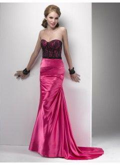Fabulous Sheath Sweetheart Taffeta with Lace Sweep Train Prom Dress