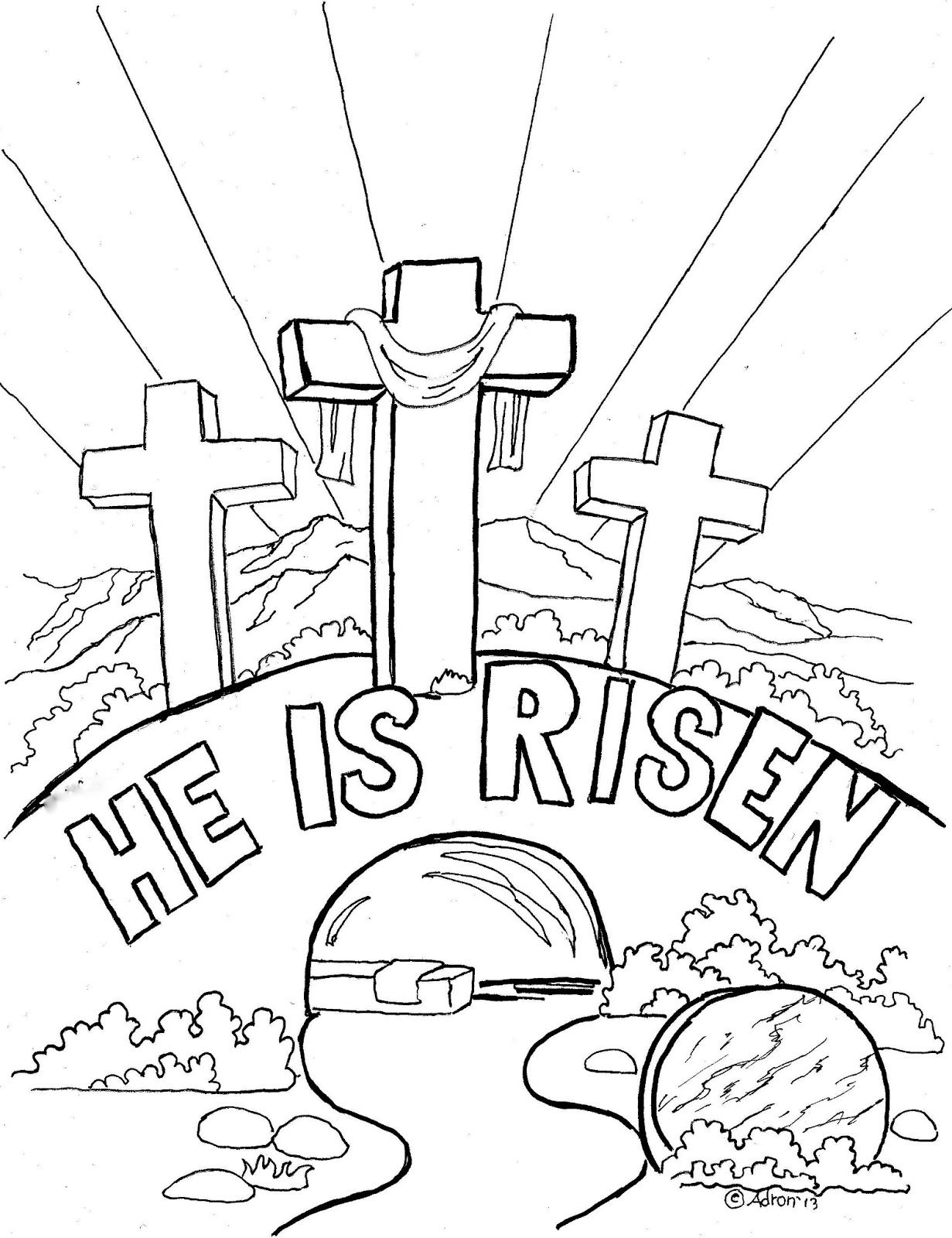 Coloring Pages For Kids By Mr Adron Easter Coloring Page For Kids He Is Risen