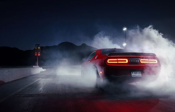 Wallpaper Dodge Challenger Hellcat Red Smoke Drag Muscle Car