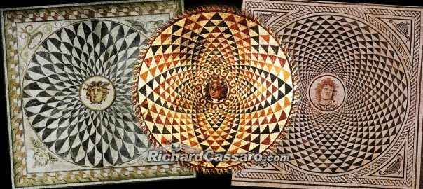 """http://www.richardcassaro.com/esoteric-meaning-mediterranean-mosaics-ruins-future-science-deep-europes-past   If you stare at these mysterious ancient mosaics you´ll notice something """"advanced"""" and even """"futuristic"""" about them. Their sacred geometric patterns are intended to put you in a trance—and for good reason. Scholars have never explained this reason. For them mosaics are purely aesthetic, nothing more. But I believe they have a deeper meaning."""