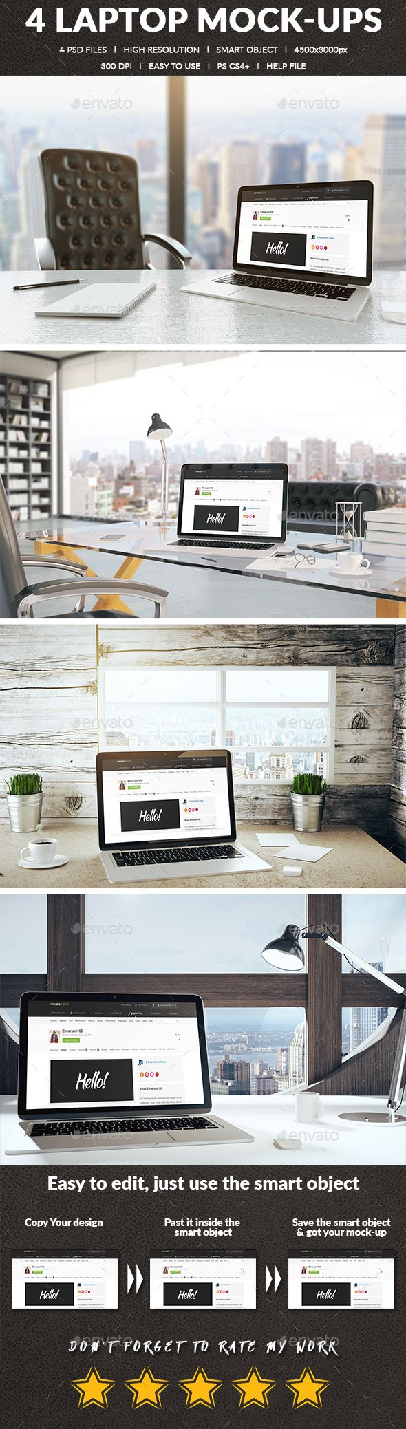 4 Realistic Laptop Mock-ups by Elmarjani100 Realistic Laptop Mock-ups : - 4 PSD files.- High Resolution 300 DPI. - Smart Object. - Size : 4500×3000px. - Easy to use. Note :