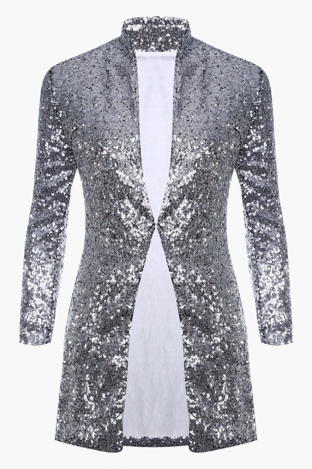 Silver sequinted long u loose open blazer genuinepeople my type