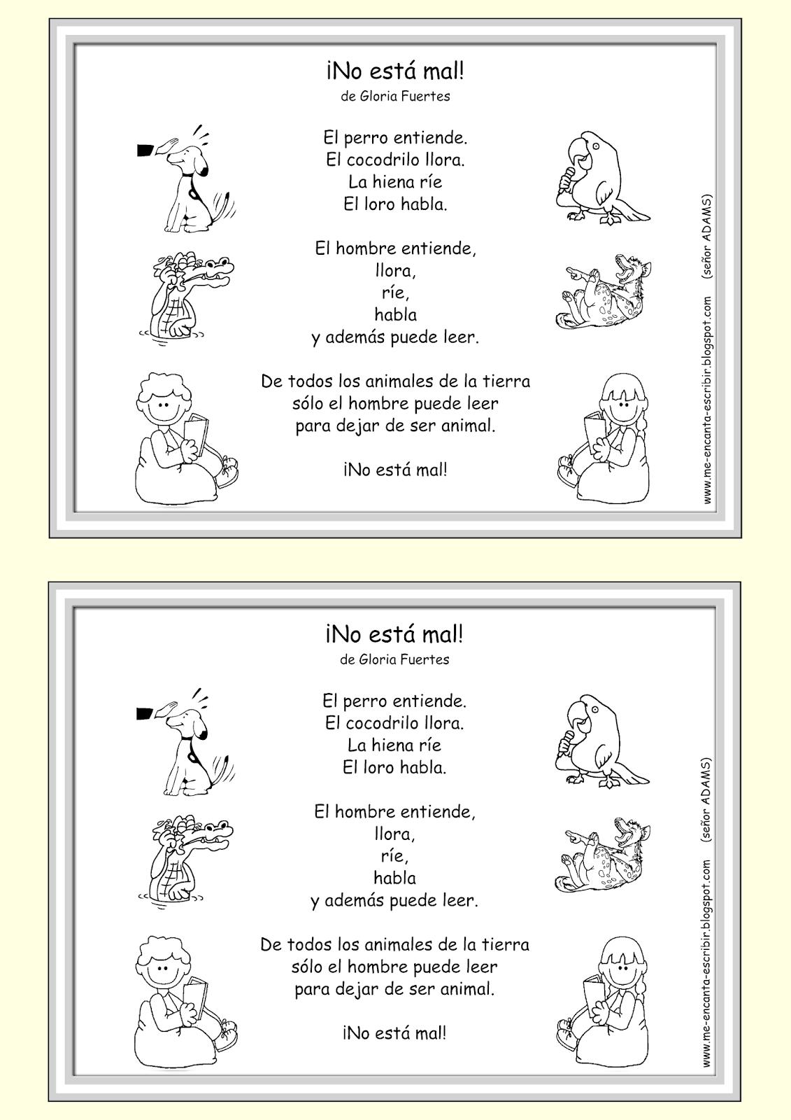 Me encanta escribir en español: Poema: ¡No está mal! de Gloria ...