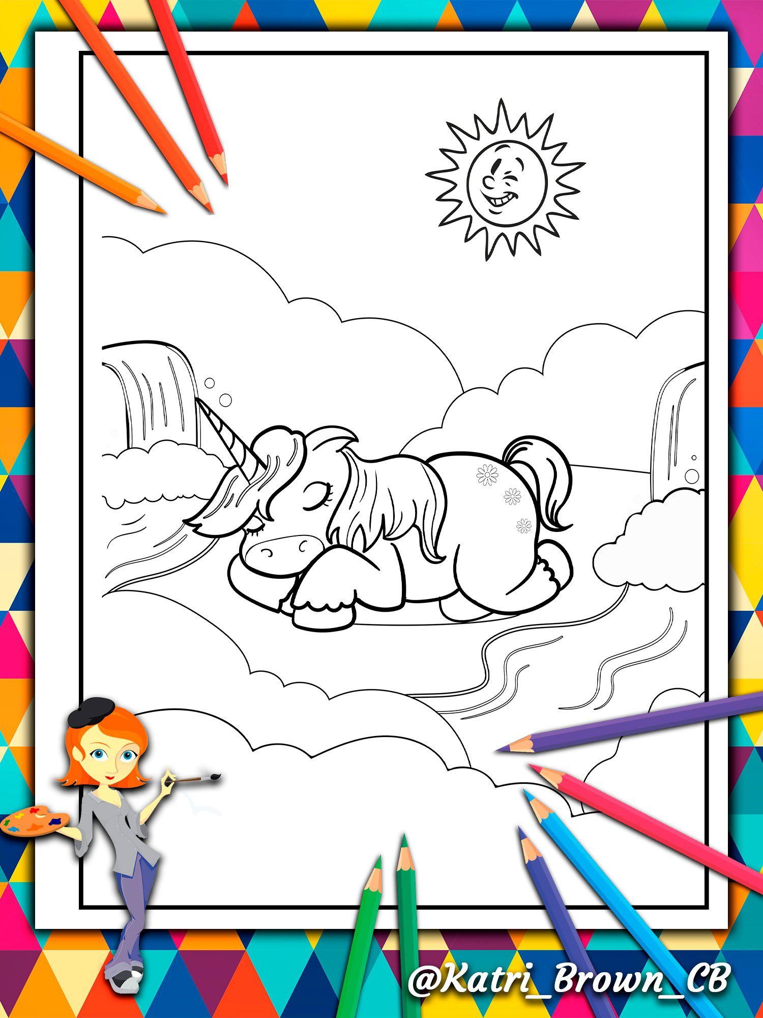 Libro Para Colorear Para Niños Con Un Feliz Unicornio Que Duerme En