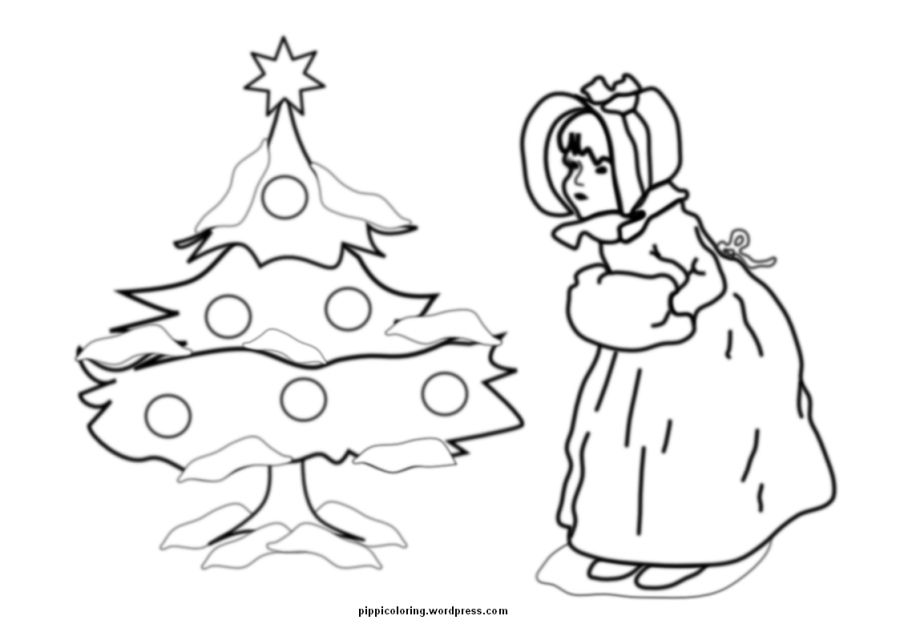 Little girl and Christmas tree coloring page Christmas tree and - best of coloring pages for a christmas tree