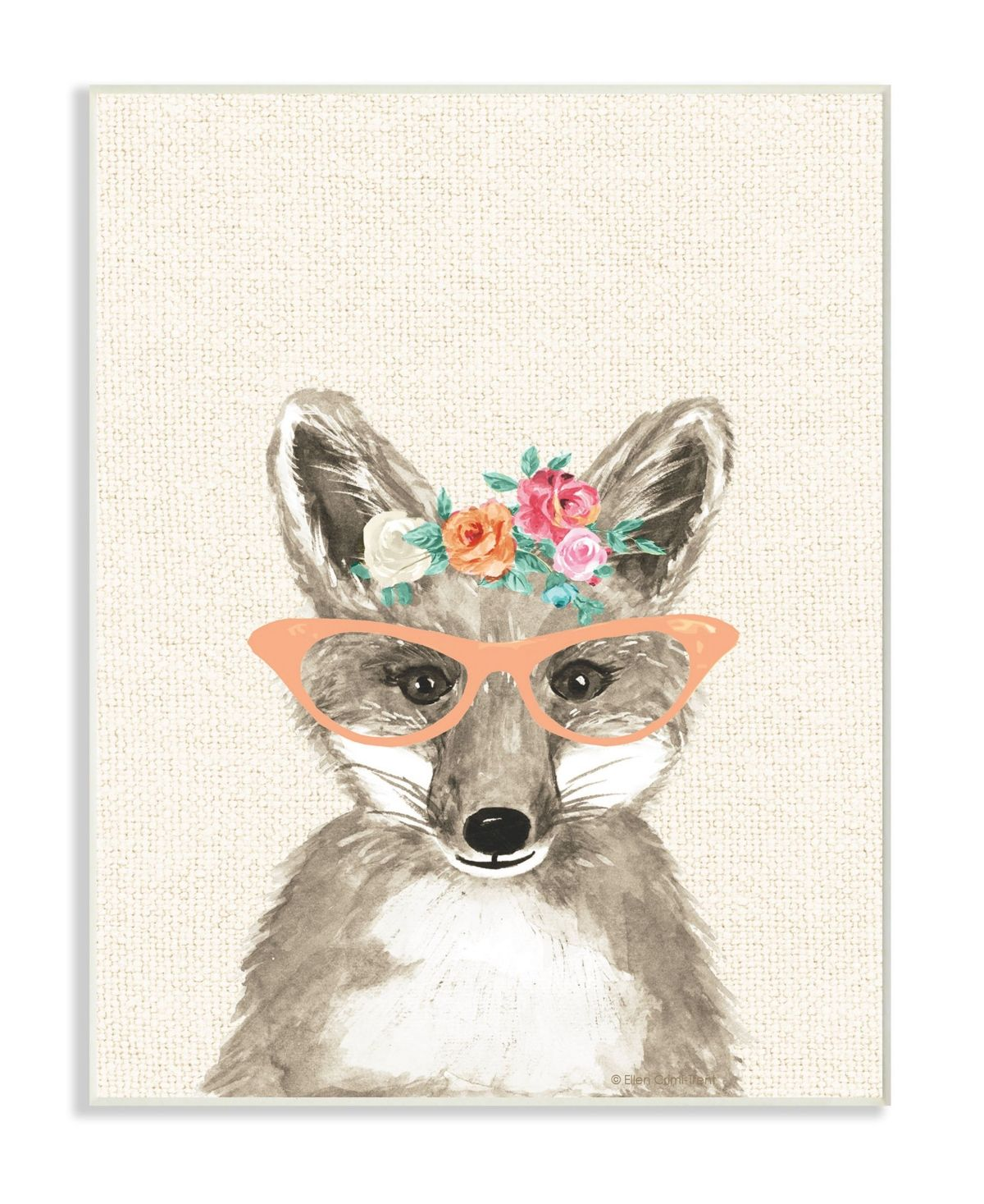 Stupell Industries Woodland Fox with Cat Eye Glasses Wall