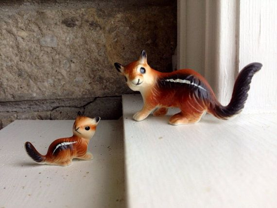 Cute Mom And Baby Chipmunk Figurines / Vintage