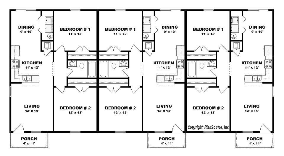 Triplex plan j0605 14t plansource inc floor plans for Triplex floor plans