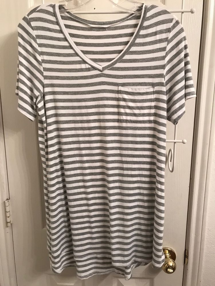 981cc51a986 Piko T-Shirt Tunic Shirt Short Sleeve V neck Bamboo Gray White Stripe Small  #fashion #clothing #shoes #accessories #womensclothing #tops (ebay link)