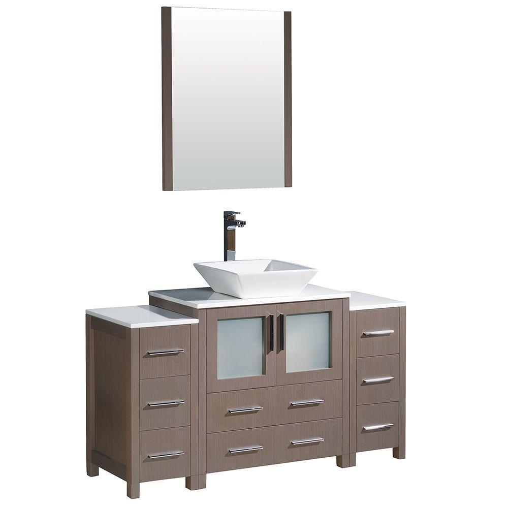 Fresca Torino 54-inch Grey Oak Modern Bathroom Vanity With