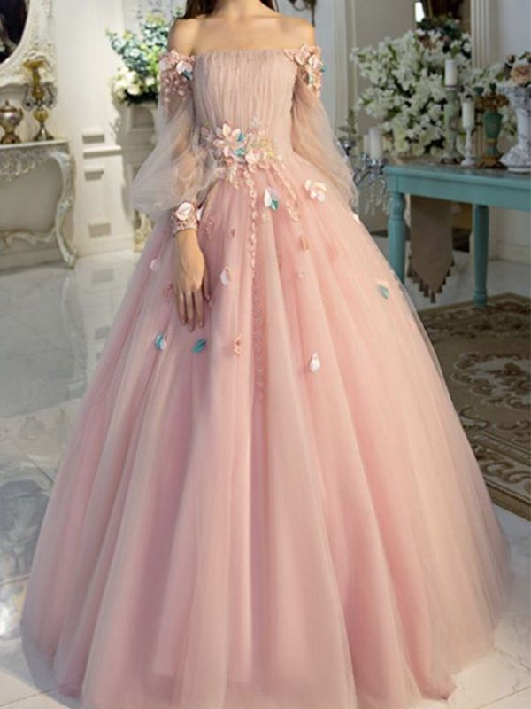 2021 Ball Gown Off-the-Shoulder Tulle Long Sleeves Long Prom Dresses