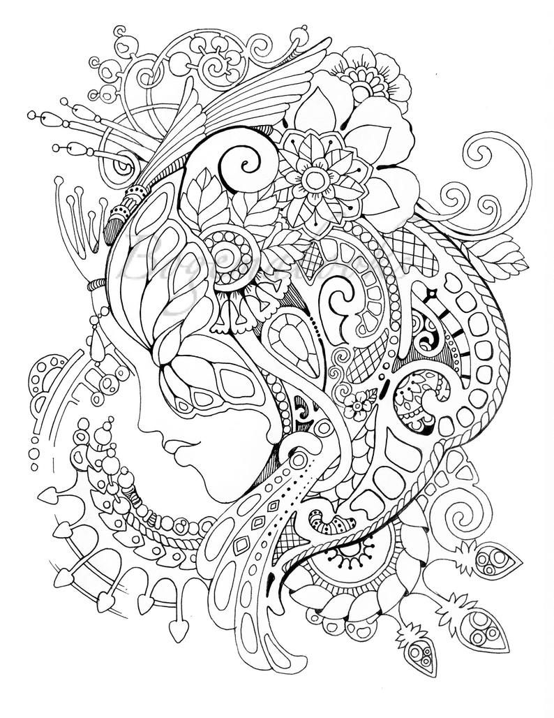 Magic Mask Adult Coloring Book Coloring Pages Pdf Coloring Pages Printable For Stress Relieving For Relaxation Fairy Coloring Pages Adult Colouring Printables Coloring Pages