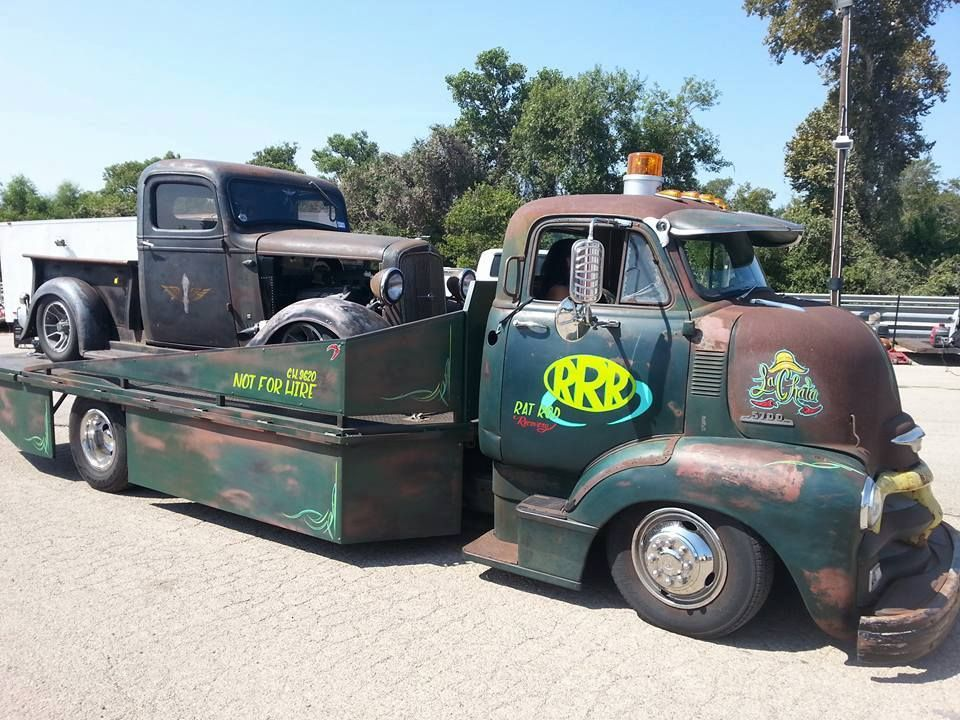 Slammed Chassis swapped Chevy COE with a cool car hauler flat bed ...