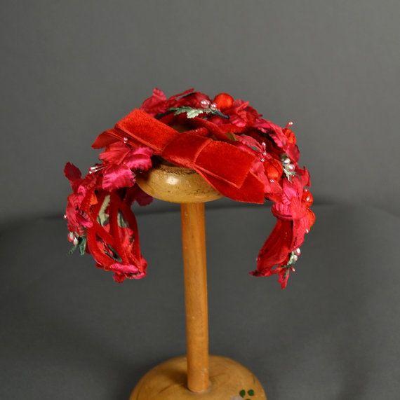 ac286767f4433f Vintage 1950s Hat 50s Hat fascinator floral by NodtoModvintage ...