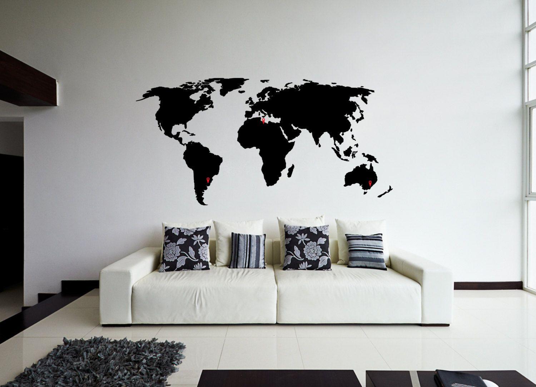 World Map Wall Sticker Design Wall Travel Decor