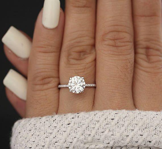 7mm Round Moissanite Forever Classic Engagment Ring, White Gold Moissanite Wedding Ring, Diamond Half Eternity Band, Charles & Colvard Ring