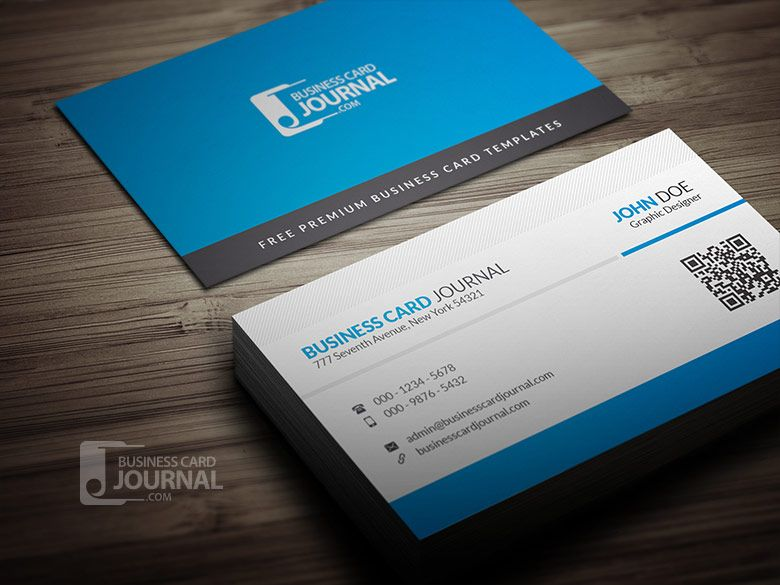 Free Blue Corporate Business Card Template With Qr Code Free