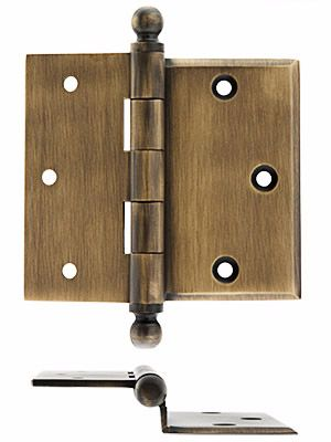 3 1 2 Brass Half Mortise Door Hinge With Beveled Surface Leaf Antique Hardware Hinges Door Hinges