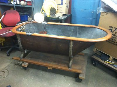 Rare Antique Pullman Car Train Copper Bathtub Bath Tub Wood Loft Factory Brothel Ebay Vintage Bathtub Copper Bathtubs Tub