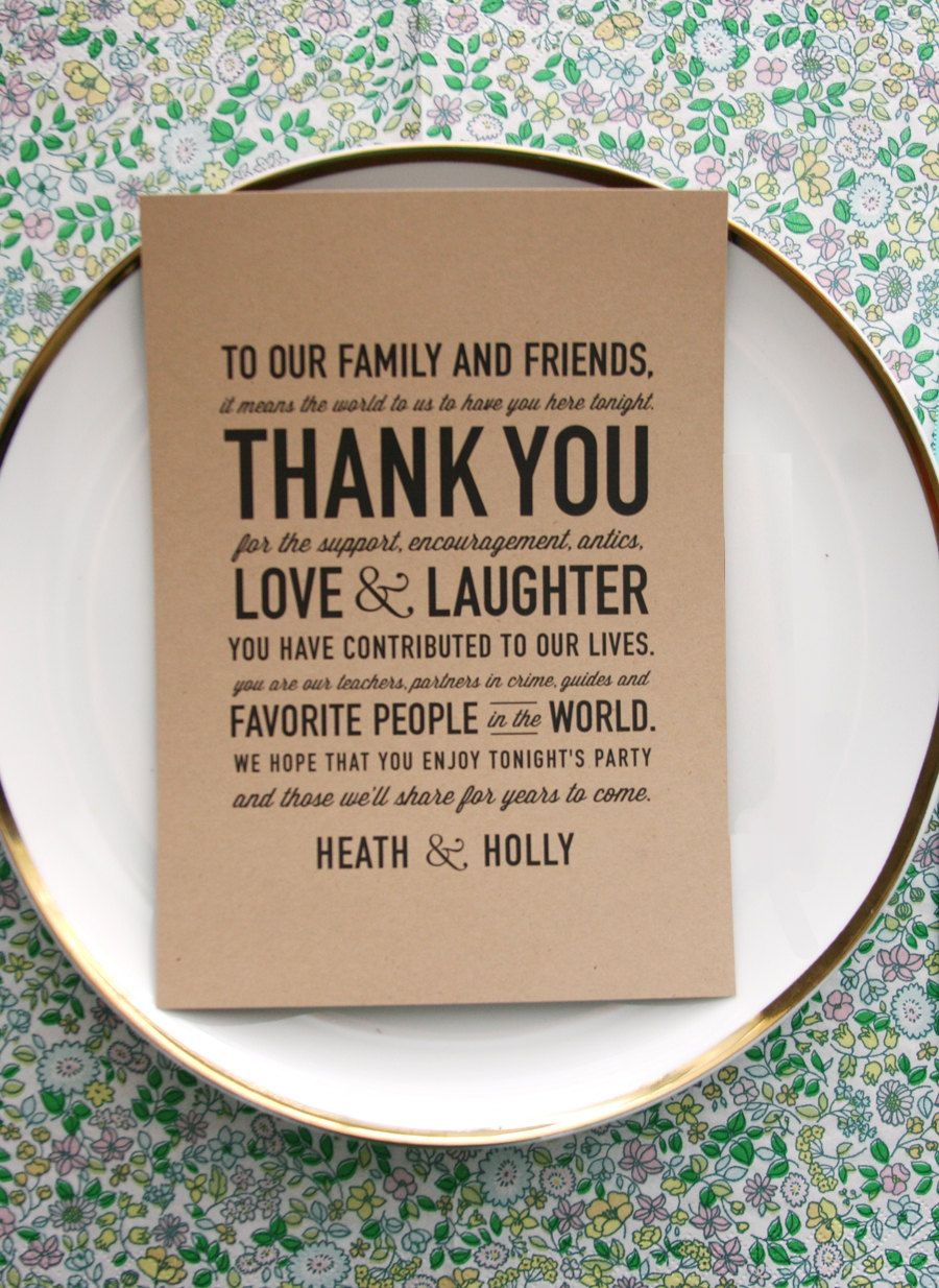 wedding reception thank you card... So sweet and makes a