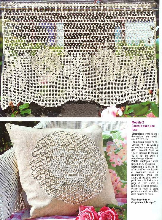 wundersch ne rosen gardine h keln crochet curtain mit gratis diagramm filet crochet. Black Bedroom Furniture Sets. Home Design Ideas