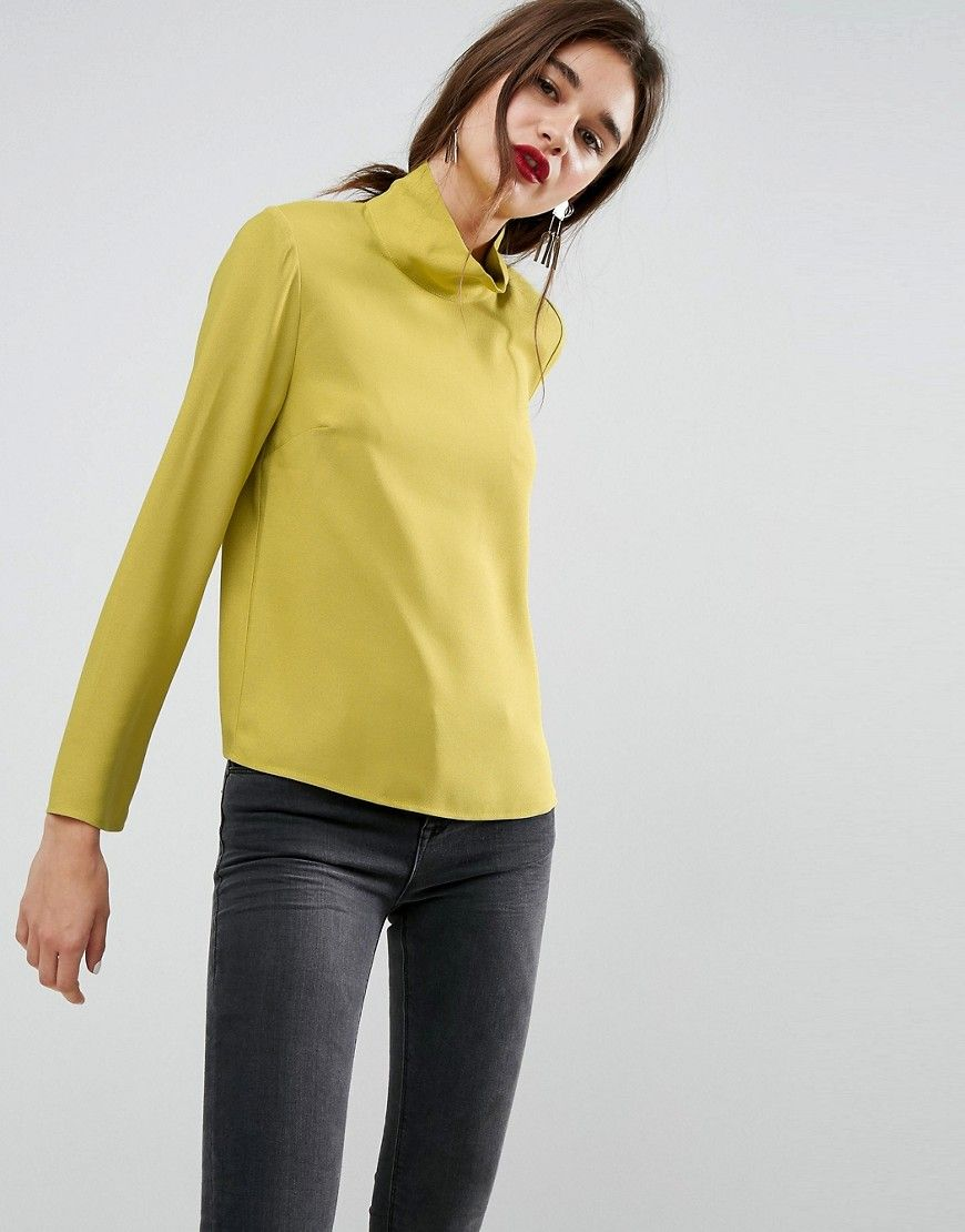 Asos funnel neck top with shoulder pads yellow shoulder pads and