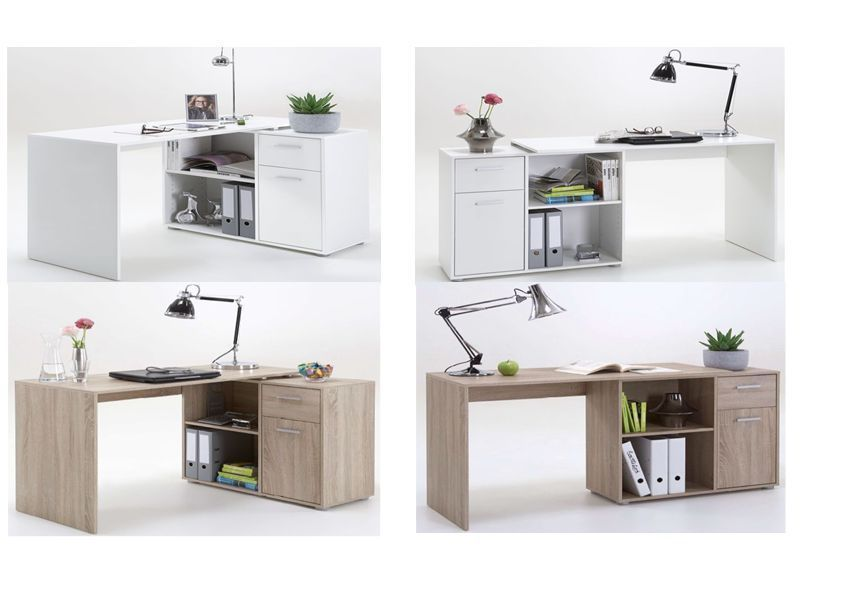 Carla Corner Computer Flexi Desk Table Oak or White Home Office ...