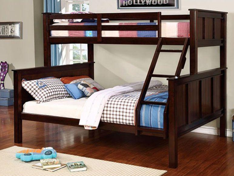 Zachary Twin over Queen Bunk Bed in Dark Walnut