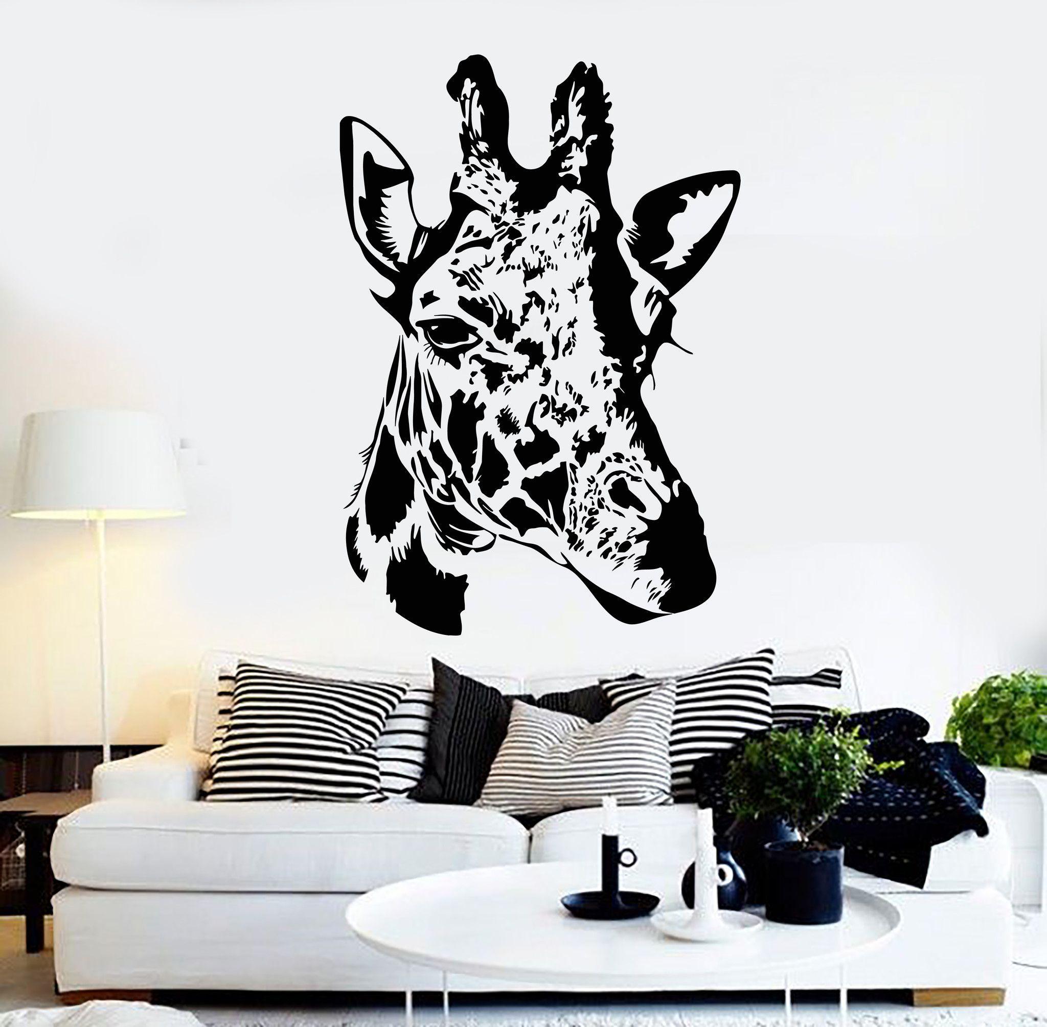 vinyl wall decal giraffe head african animal art stickers mural vinyl wall decal giraffe head african animal art stickers mural ig4613