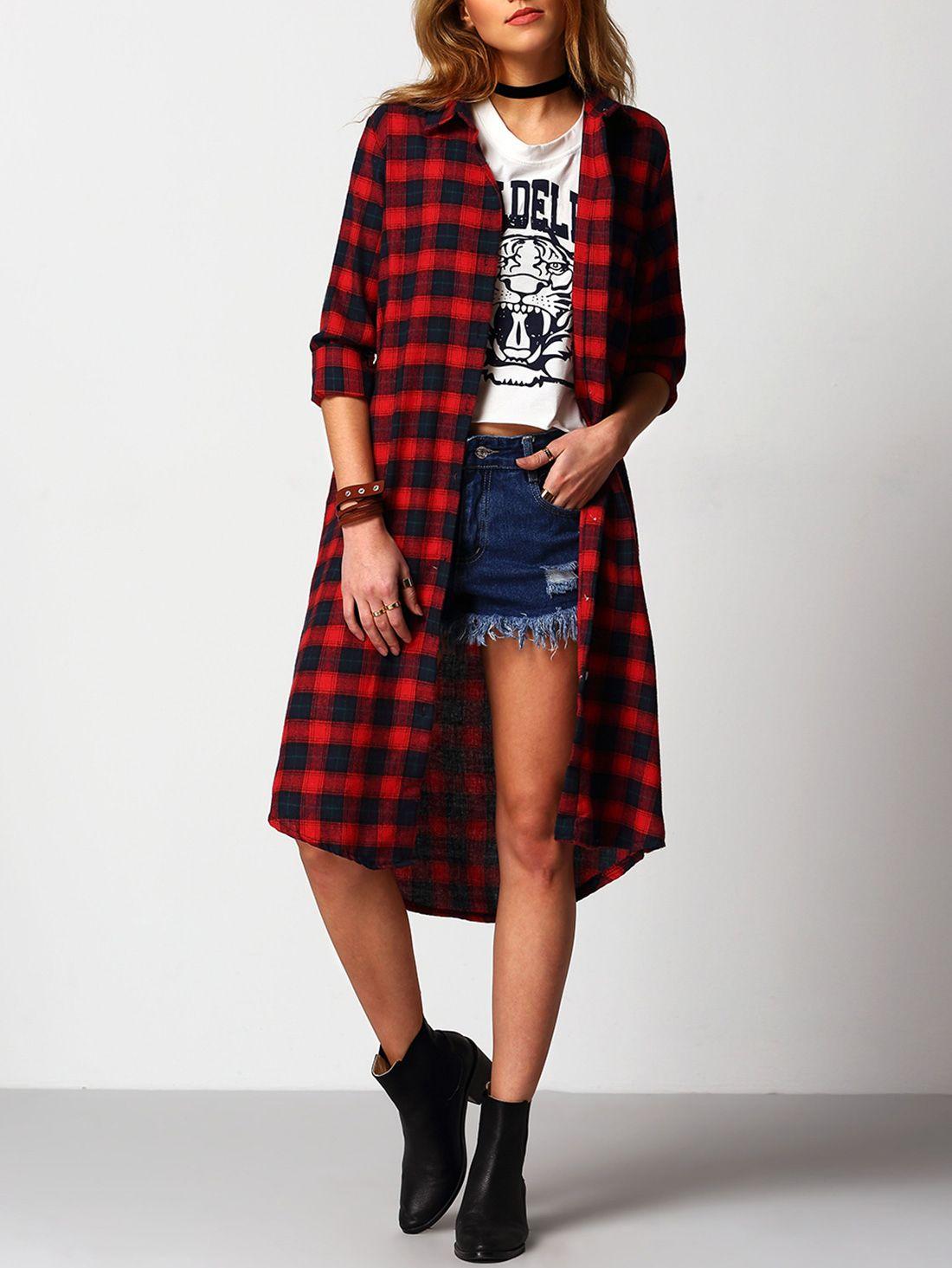 Robe chemise à carreaux col à revers -rouge