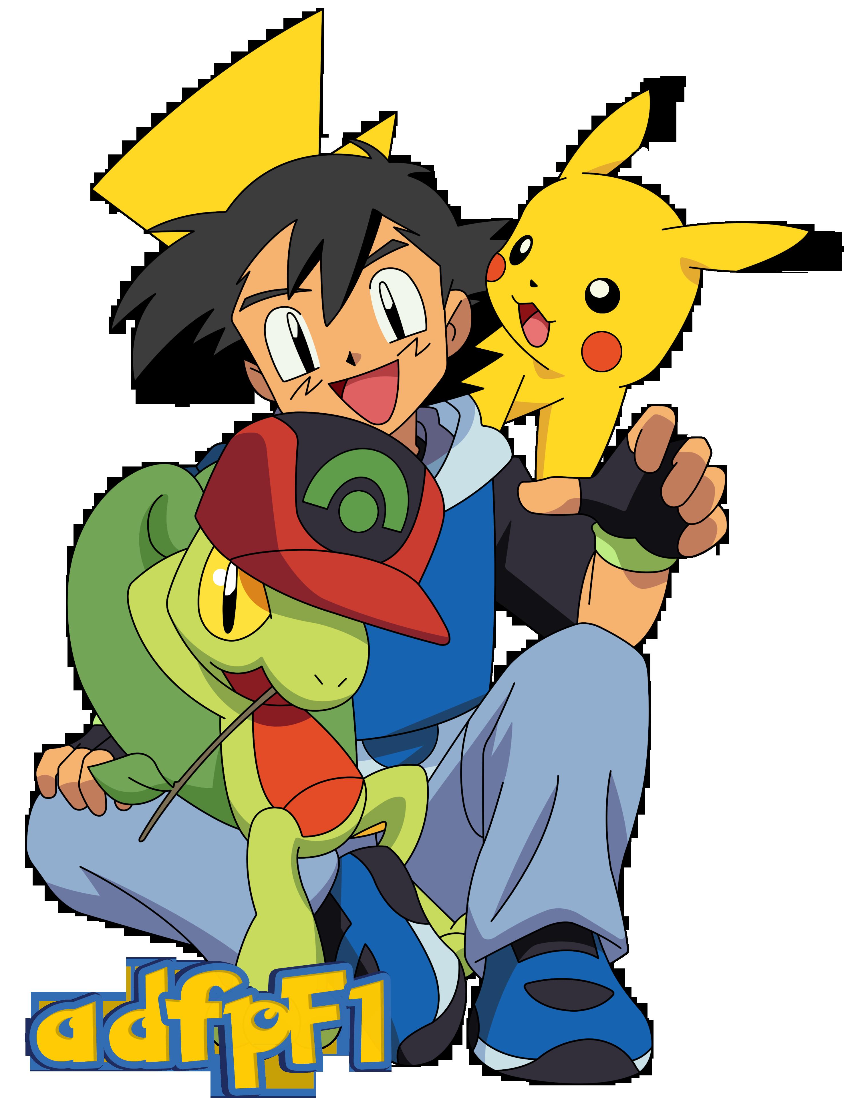 Ash (AG), Pikachu Y Treecko (01) By AdfpF1.deviantart.com