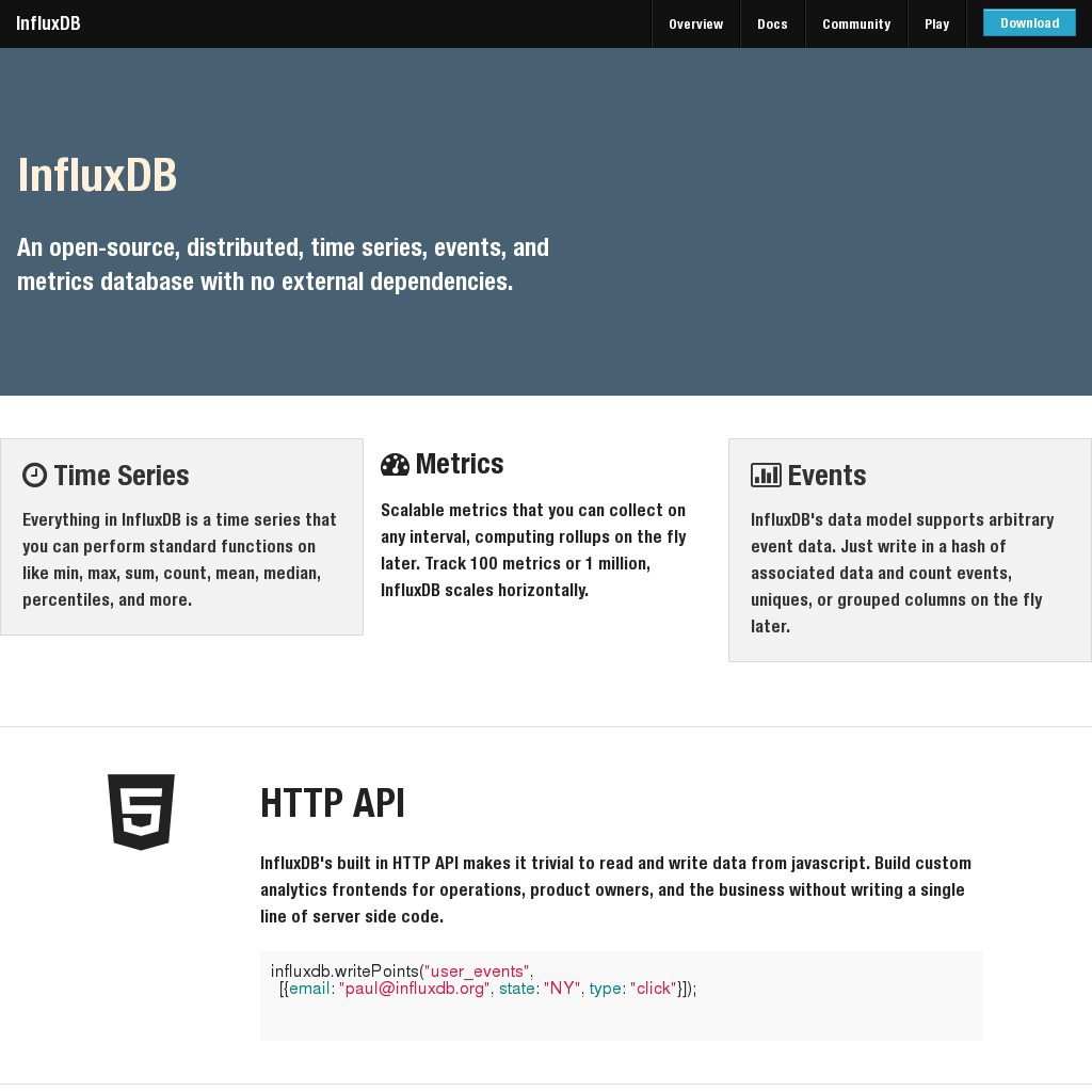 InfluxDB An open-source, distributed, time series, events